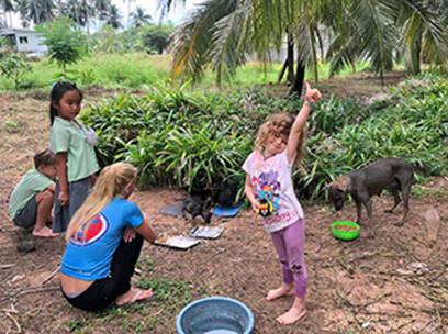Fütterung Baan Taling Ngam Area - Mira und ihre Kinder